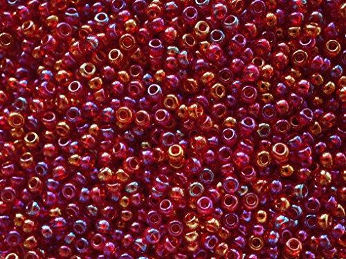 20gr (ca. 840 stk) Tschechische Glas Rocailles Preciosa, Größe 8/0 (2,8mm - 3,2mm), Rundloch, Farbe: Ruby Iris Rainbow - Iris Glas