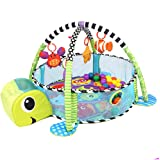 Baby Play Gym, 3 in 1 Activity Mat with Removable Toys Bars & Walls, Infant Marine Ball Pool, 4-Piece Hanging Toys & 30-Piece