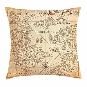 Funda de cojín con diseño de mapa de la isla con símbolos náuticos y texto en inglés «Discovery Exploration», 45,7 x 45,7 cm, color beige
