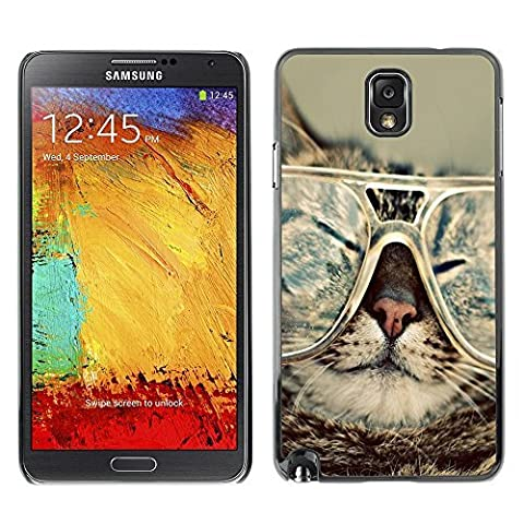 Plastic Shell Protective Case Cover || Samsung Galaxy Note 3 N9000 || Cat Glasses Slpeeping Funny Portrait Art @XPTECH
