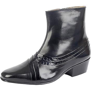 dc4f1e71470 Mens Black Patent Smart Italian Dress Cuban Heel Boots Gents Formal ...