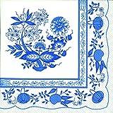Blue & White DELFTWARE Design - 3 Ply Paper Napkins - Pack of 20 - 33cm square unfolded