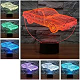 3D Lampe de table LED de 7couleurs Veilleuse Lampe de table pour salon, chambre avec télécommande–5modes différents Motif voiture