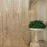 GreenRibbon Glitter String Vorhänge Metallic Flitter Tür Trennwand Vorhang Shimmer Fliegengitter Terrasse Fransen Fenster Dekoration für Geburtstag Hochzeit Party, Champage, 1Pc