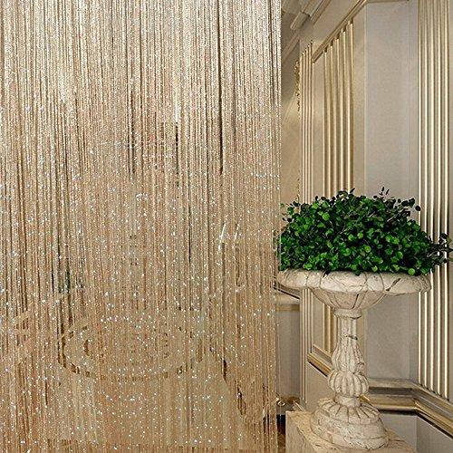 String Vorhänge Metallic Flitter Tür Trennwand Vorhang Shimmer Fliegengitter Terrasse Fransen Fenster Dekoration für Geburtstag Hochzeit Party, Champage, 1Pc ()