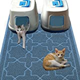 Cat Litter Mat Dog Bowl Mat for Litter Box Waterproof PVC Material for Scatter Control Non-Slip Absorbent Pet Food Mat for Cats or Dogs (Blue)