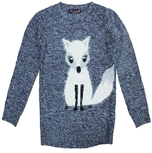 Love Knitwear Girls Jumper Fox - Navy Blue - 9-10 Years