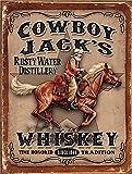 Cowboy Jacks Whisky Bar/Pub Man Cave plaque en métal rétro en étain plaque murale...