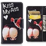 Custodia Sony Xperia L2 Cover, Ougger Premium Portafoglio Pelle Flip Stand Protettivo Magnetico Morbido TPU Silicone Bumper Borsa Cover Sony Xperia L2 con Slot per Schede, Cane carino