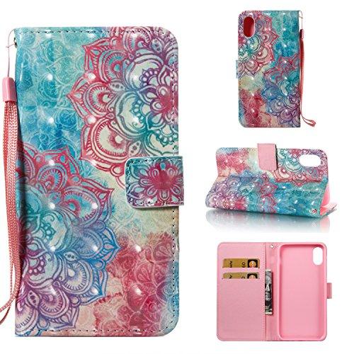 Ooboom® Custodia per iPhone X Cover 3D Magnetico Libro Flip in Pelle PU Cuoio Wallet Case con Funzione di Appoggio e Supporto Cinturino da Polso - Smile Fiore