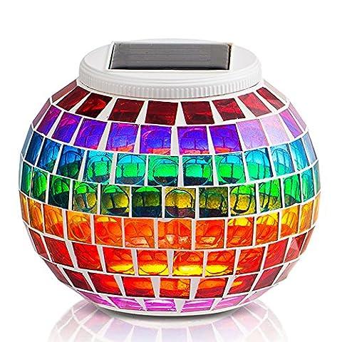 GRDE® Mosaik Solar Lampen Weihnachtsleuchten Gartenleuchten Garten Lampen, LED Magic Sonnenschein Kugel Leuchten, Farbe Wechselndene (giardino decorazione esterna e Patio)