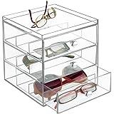 mDesign support lunette – boite de rangement plastique pour lunettes, etc. – porte lunette – en plastique – transparent