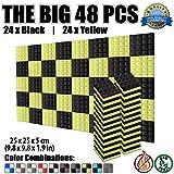 Super Dash Pacco da 48 di 25 X 25 X 5 cm Piramidali Fonoassorbenti Isolanti Studio Acustici Parete Piastrelle Pannelli SD1034 (NERO & GIALLO)