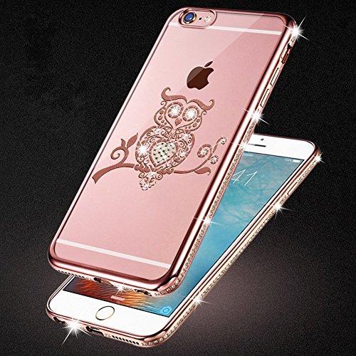 iPhone 6S-6 Hülle Glitzer-Strass Case Schutzhülle (4,7 Zoll) im stylishen Glamour glitzer Crystal Look mit Strassteinen und Aufdruck für das iPhone 6S-6 - Farbe: Gold - Nur original von THESMARTGUARD rose - Eule