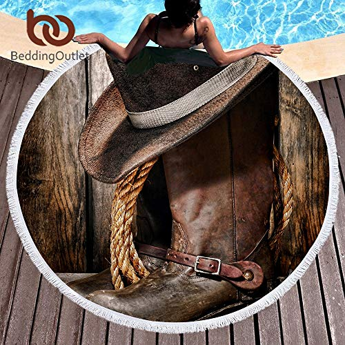 SATAJNN Toalla Playa Western Cowboy Round Beach Towel