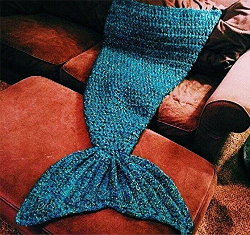 YunNasi 70.8''x31.4''Handmade Mermaid Tail Blanket for Adults, Super Soft Cozy Cotton, Feet Go in Fins, Perfect Little Mermaid Cute Gift Blue by YunNasi