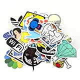 HANIB (Pack of 100) Random Music Film Vinyl Skateboard Snowboard Sticker Graffiti Laptop Luggage Car Bike Bicycle Decals mix Lot Pack Decal