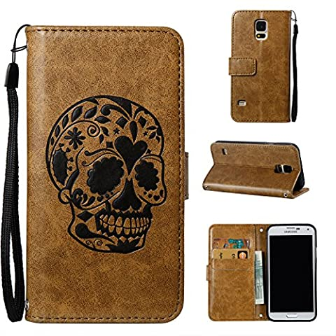 Meet de Samsung Galaxy S5 Leather Case,[Flip Wallet Case] Fashion Solid Skeleton prints design PU Leather [Cash Card Slots Change Pouch] Soft TPU Silicone Inner Bumper Full Protection [kickstand Cradle ]Magnetic Closure Lock Phone Shell - Khaki