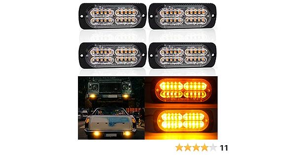 4 X Nouvelles perles 4D LED Feux Stroboscopique,20 LED Lampe Flash Stroboscope Feux Clignotant Warining Beacon Lights Barre Lumi/ère durgence Orange 60W 12V 24V pour Voiture Camion Remorque