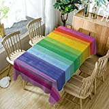 GuDoQi Rayas del arco iris Mantel Cubierta de tabla Rectángulo Tela de...