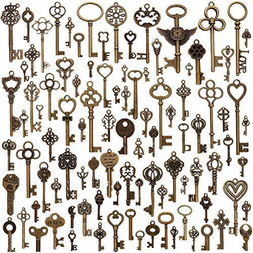 El paquete incluye: 100 colgantes para llaves de esqueleto vintage de bronce envejecido, para hacer joyas y hacer manualidades.