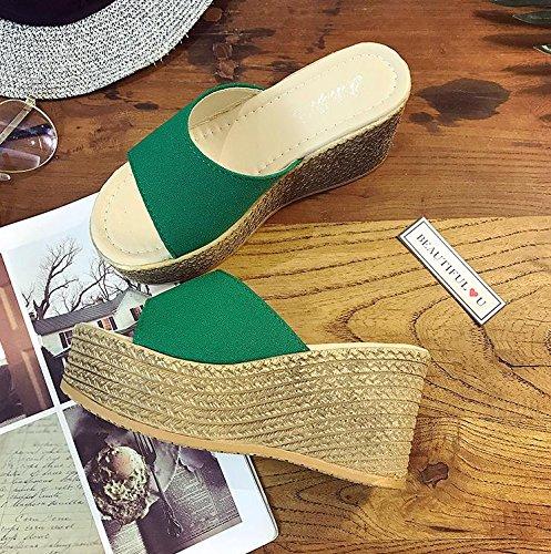 LvYuan Damen Sommer Hausschuhe / Komfort Casual Fashion / Wedge Ferse / Dick Boden / wasserdichte Plattform / High Heel / Sandalen / Strand Schuhe Green