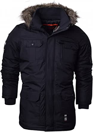 Crosshatch Mens Heavy Weight Fur Hood 'Parked' Parka Padded Waterproof Winter Coat Jacket