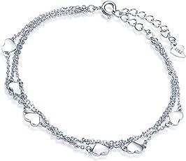 """Yumilok 925 Sterling Silber Herzen Charm-Armband Armkette 3 Kettchen Armschmuck für Damen Mädchen, 6.3-7.7"""" Verstellbar, Silber/Silber vergoldet"""