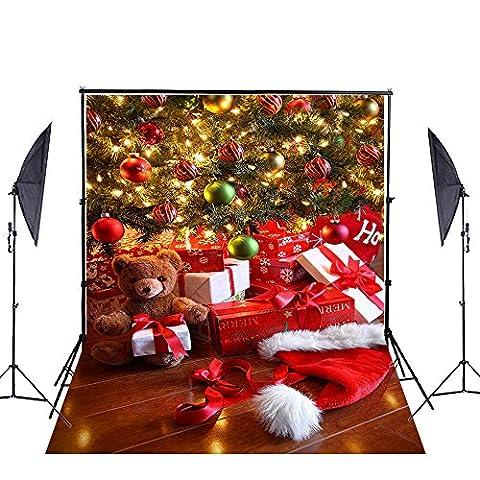 Photographie toiles de fond de Noël, Ycnet personnalisée Coton Réutilisé sans Rides lavable Boîtes Cadeau de décoration d'arbre de Noël Photo Toile de fond pour enfants Studio Props