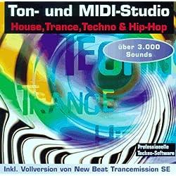 Ton- und MIDI-Studio House, Trance, Techno & Hip-Hop, inkl. Vollversion von New Beat Transmission SE, sowie 3000 Sounds. Programme für Windows 3.1x Win 95 / NT