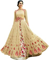 Drashti villa Women's Heavy Embroidered Work Bridal Wedding Gown and Anarkali (Jordar Cream_Free size)