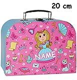 Unbekannt 1 Stück _ Koffer / Kinderkoffer - KLEIN -  Prinzessin & Schmetterlinge - rosa / pink  - incl. Name - 20 cm - Pappkoffer - Puppenkoffer - Kinder - Pappe Kart..