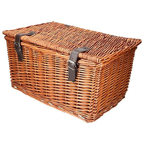Warenhandel König Stylisher Retro Bäckerkorb Fahrradkorb Weidenkorb Fahrrad Korb mit Zwei Gurten und Deckel (Natur/braun)