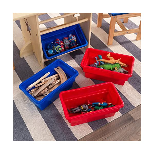 KidKraft 26912 Star Wooden Table & 2 Chair Set with storage bins, kids children's playroom / bedroom furniture - Red & Blue KidKraft Four convenient storage bins Bins can be reached from either side of table Star-shaped holes on table and chairs 9