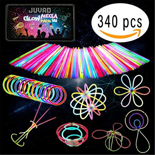 JUVAD Glow Mega Pack Spezielle KREATION - 180 Knicklichter Armbänder Leuchtstäbe Set Party Box & Zubehör | Leuchtarmbänder Knick Lichter Partyset