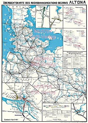 Übersichtskarte des Reichsbahn - Direktionsbezirks Hamburg Altona 1931: Restaurierter Reprint der Originalkarte als Poster auf Kunstdruckpapier im ... (Sammler-Edition Historische Eisenbahnkarten)