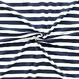 STOFFKONTOR Viskose Stretch Jersey Stoff Ringel Mittel Stoff Meterware Navy-Blau Weiss