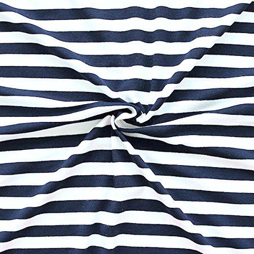 STOFFKONTOR Viskose Stretch Jersey Stoff Ringel Mittel Stoff Meterware Navy-Blau Weiss - Und Blau Stoff Gestreiften Weiß