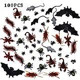 100 piezas de plástico realista errores - falsa cucarachas, arañas, escorpiones, hormigas, Geckoes, ciempiés, ratones, moscas, murciélagos para Halloween Fiesta y Decoración