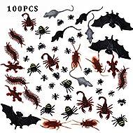 100 piezas Realistic Bugs Incluye: 10 cucarachas falsas (2 * 7cm, 2Grams); 10 arañas amarillas (1.5 * 1.9cm, 0.6Grams); 10 arañas blancas (1.5 * 1.9cm, 0.6Grams);  10 Escorpiones (5 * 3.5cm, 2Grams); 10 ciempiés (6 * 2cm, 1.5Grams); 10 Geckos (6.2 * ...