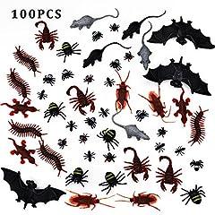Idea Regalo - EVINIS 100 pezzi di bugs realistici di plastica - falsi scarafaggi, ragni, scorpioni, formiche, gecko, centipede, mouse, mosche, pipistrelli per Halloween Party Favors e decorazione