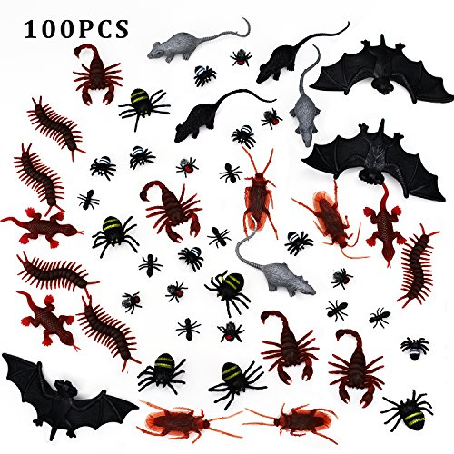 100-pieces-plastic-realistic-bugs-fake-cockroaches-spiders-scorpions-ants-geckoes-centipedes-mice-fl