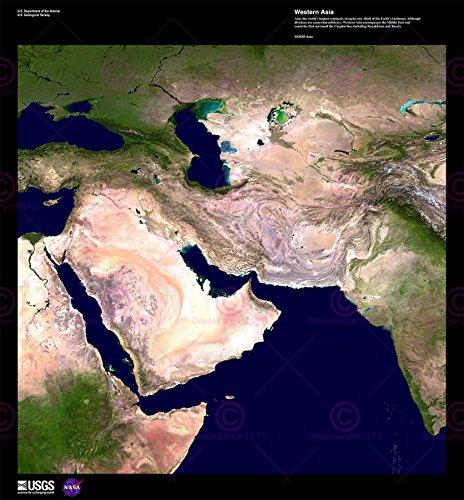 Middle East Wall Map (Doppelganger33 LTD Science Map Satellite Middle East Arabia Desert Replica Canvas Art Print)