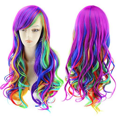 AGPtek Frauen lange gewellte lockige Perücke, Cosplay Party Halloween Kostüm Synthetische Spitze Voll Perücke mit freiem dehnbaren Haarnetz (Grelle)