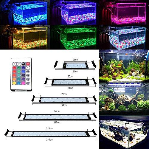 Pflanzen Aquarium Licht (GreenSun 35W Aquarium Beleuchtung LED Aquariumlicht Aquariumleuchten Aquariumlampen 150*5050SMD RGB 24 Tasten IR Fernbedienung und 10cm Docking Halterungen Einstellbare Länge für Fisch Tank 115cm-135cm)