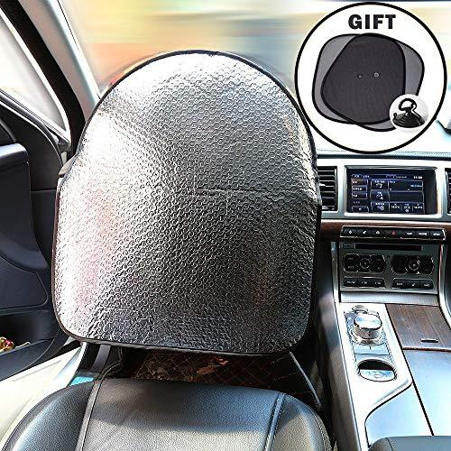El protector solar del volante cubre las persianas de los 50cm * 46cm para todos los autos + 2 piezas de la ventana lateral Sun Shade 44 * 36cm, cubierta de manillar aislada con papel de aluminio
