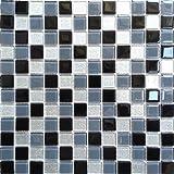1qm Glas Mosaik Fliesen Matte Schwarz, Grau und Silber mit Glitzer (MT0014 m2)