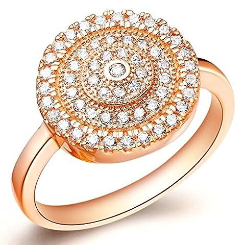 KnSam Bague Or Rose Femme Anneau Mariage Bagues de Fiançailles Cercles Cluster Pave Taille 56.5 Incrusté Cristal [Bague Mariage]