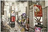 1art1® 51481 Nueva York - Póster de Times Square con anuncios y Taxis (91 x 61 cm)