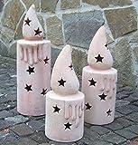 Kerze aus Terracotta 50 cm Deko Garten Weihnachten Stern Windlicht